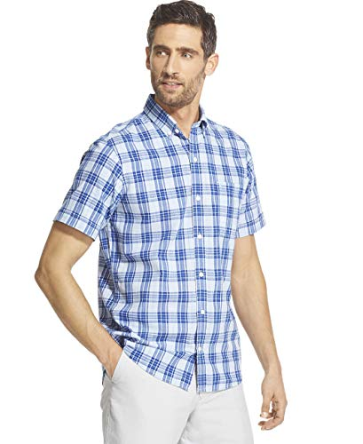 (IZOD Men's Saltwater Dockside Chambray Short Sleeve Button Down Plaid Shirt, Clear air, Large)