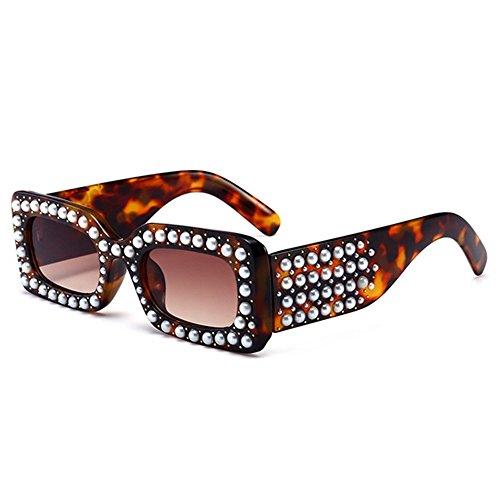 de Color Verano Sol UV Gu Vacaciones de Peggy Cristal Forma para Completo Cuadrada Gafas C5 Conducir C3 para Protección Perlas Playa Pequeña Mujer Marco de qxPBv1A