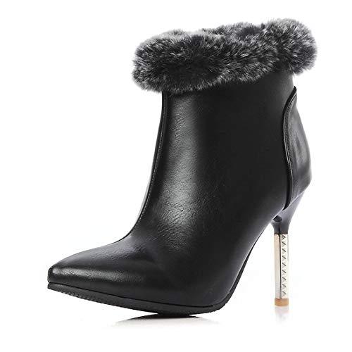ZHZNVX Scarpe da Donna PU Autunno & Inverno Comfort Stivali Tacco a Spillo Nero Vino, Nero, US6   EU36   UK4   CN36