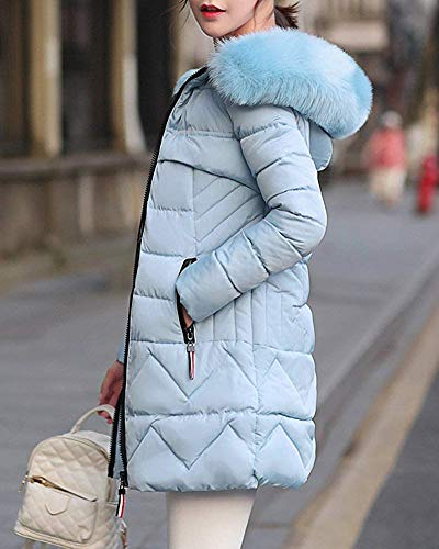 Coat Zhrui Dimensione Parka colore Cappuccio Capispalla Con Warm Outercoat Donna Winter Medium Blu Da Giacca rAqzw4r