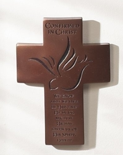 Confirmed In Christ Chocolate Brown 7 inch Resin Stone Decorative Wall or Tabletop Cross