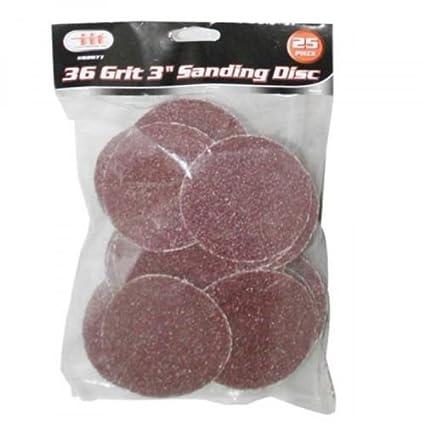 IIT 82077 36 Grit 3' Sanding Discs, 25 Pack
