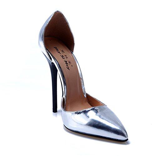 49 Vestir Puntiagudo Zapatillas Inteligente Fiesta Cerrado Dedo Para Zapatos Talones Del Corte Alto Mujer Pie Tamaño Silver 40 Trabajo Estilete pO7wqZU0OB