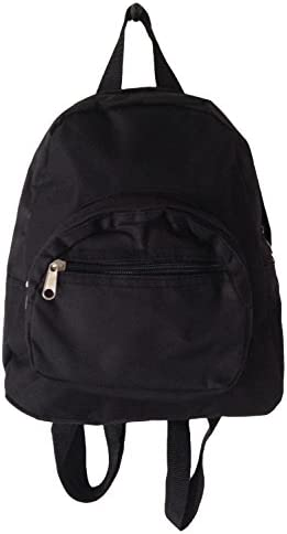 Mini Backpack Purse 11-inch, Zipper Front Pockets Teen Child (Solid Black)