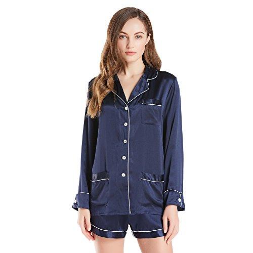 LILYSILK Pijamas Mujer de Seda con Ribete - 100% Seda de Mora de 22MM de Grado 6A - Ropa de Dormir Super Cómodas, Transpirables y Lujosas Azul Marino