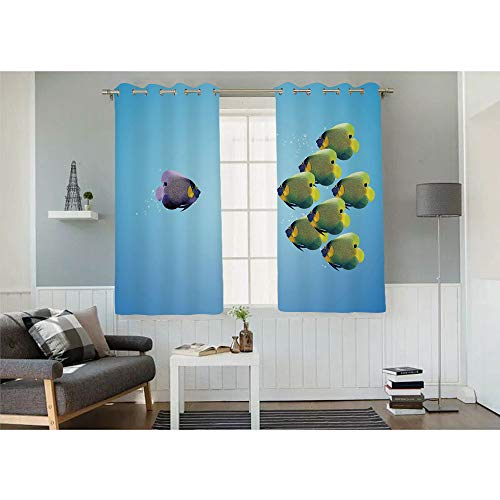 Fashion Design Curtain,Purple Angelfish Leading The Yellow Group Be Different Inspirational Decorative,Each Set is Sold 2 Panels,Each Panel Size is,W32xL32 inch,Light Blue Yellow Purple