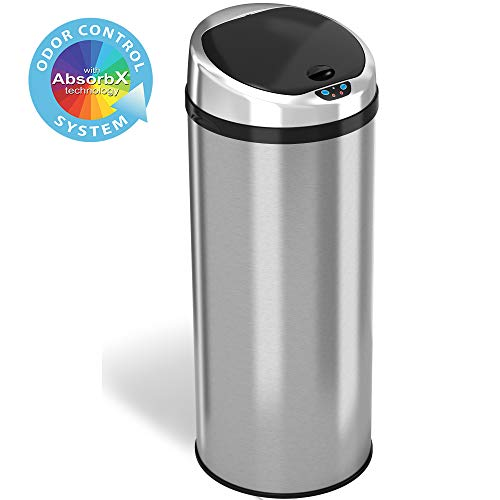 iTouchless 13 Gallon Touchless Sensor Kitchen Trash Can with Odor