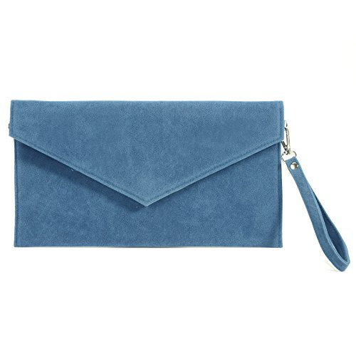 Anladia Large Faux Suede Envelope Clutch W/ Wrist Strap Women Hand Carry Daily Purse Chain Strap