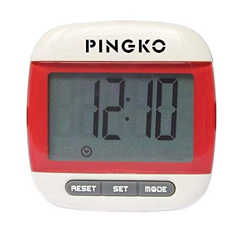 PINGKO Portable LCD Digital Multi Pedometer Calorie Counter Walking Step Distance Pedometer with Clock - Red ()