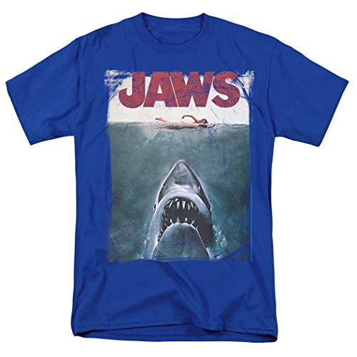 Jaws Shark Original Movie Poster Royal Blue T Shirt & Exclusive Stickers (XXX-Large)