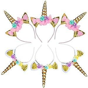 USA Toyz Unicorn Headband Party Favors – 6pk Unicorn Party Supplies, Unicorn Horn Headbands for Girls and Boys