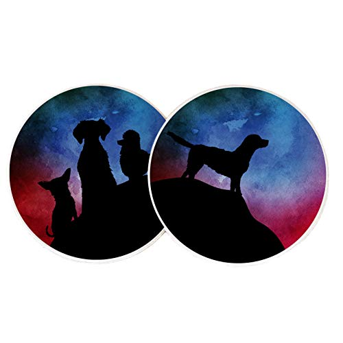 (Desert Cactus Dog Doggy Silhouettes Absorbent Sandstone Car Cup Coaster (Set of 2))
