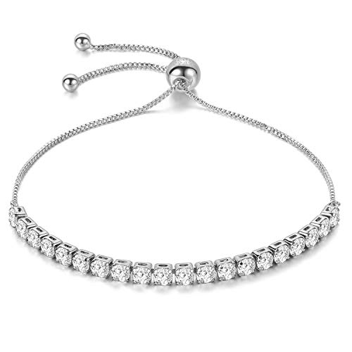J.Fée Women Bracelet Silver Adjustable Bracelet 4MM Diamond Crystal Bracelet Tennis Bracelet Shining Luxury Jewelry with Gift Box Silver Girl Zircon Bracelet Birthday for Mom