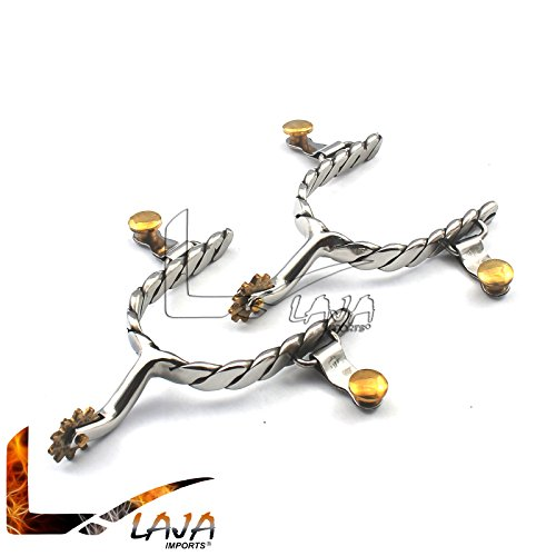 (LAJA IMPORTS Twist Band Ladies Size Roping Spurs Stainless Steel BT-0025)