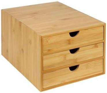 woodluv - Escritorio de bambú con 3 cajones, tamaño A4, Resistente ...