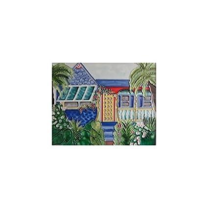 . Amazon com  Island House Decorative Ceramic Wall Art Tile 8x10  Home
