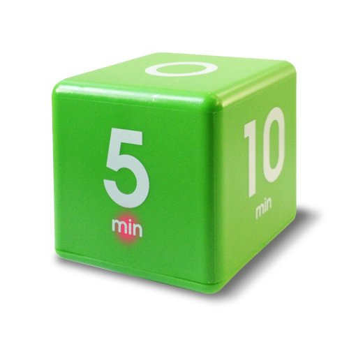 The Miracle Cube Timer, 1, 5, 10 and 15 Minutes, for Time Management, Kitchen Timer, Kids Timer, Workout Timer, Green