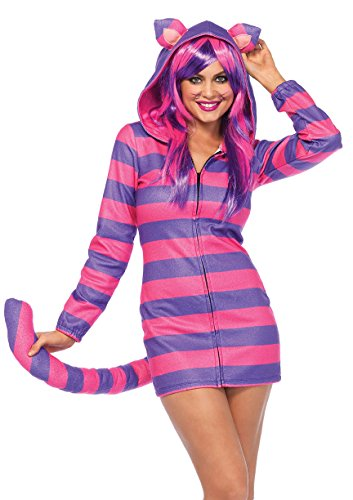 Leg Avenue Women's Cozy Cheshire Cat Wonderland Halloween Costume, Pink/Purple -