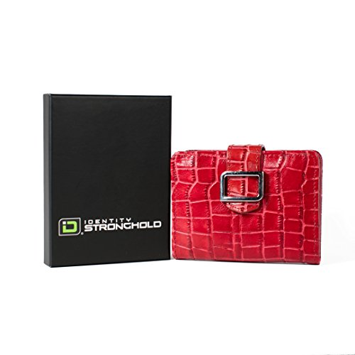 RFID Blocking Mini Trifold - RFID Wallets for Women - Best RFID Protection - Red Croc