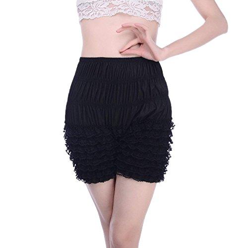 - Women's Micromesh Lace Ruffle Tanga Shorts Sexy Ruffled Lace Panties Sissy Pettipant Dance Bloomers Frilly Shorts (Black, Large)
