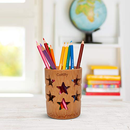 Bamboo Pen Holder for Desk Cute, Bamboo Toothbrush Holder, Wooden Pencil Holder, Bamboo Pen Cup, Pencil Cups for Desk, Desk Pencil Holder, Cute Pen Holder, Pencil Holder Cup, Bamboo Pencil Holder Star