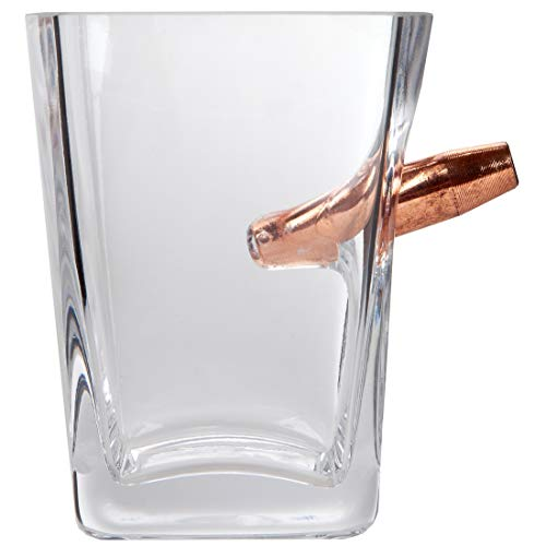 Lily's Home Shot Glass with Bullet for Whiskey and Scotch, Rocks Glass, Handblown, 10 oz. ()