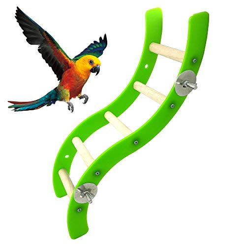 Womdee Acrylic Wave Ladder Stand Crawling Ladders, Cage Bird Play Toy for Parrot, Macaw, African Grey, Budgies, Parakeet and Cockatiel