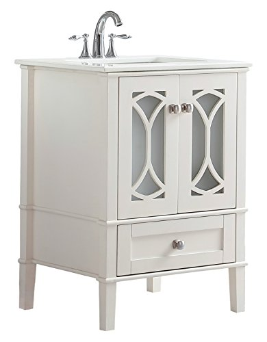 Simpli Home AXCVPAW-24 Paige 24 inch Contemporary Bath Vanity in Soft White with White Engineered Quartz Marble Top