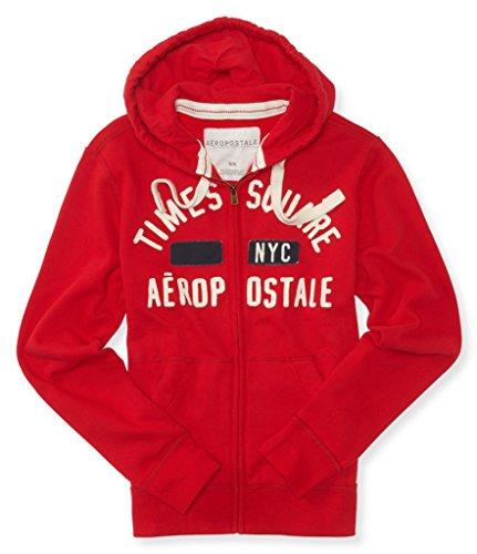 Aeropostale Mens Times Square Full Zip Hoodie (Red)