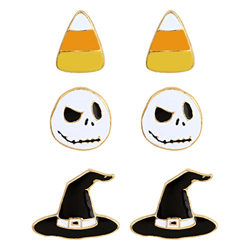 Best Jack Skellington Costume (Rosemarie Collections Women's Nightmare Halloween Stud Earrings Set of 3)
