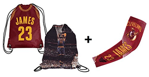 Forever Fanatics Cleveland James #23 Basketball Fan Gift Set ✓ James #23 Picture Drawstring Backpack Gym Bag & Matching Compression Shooter Arm Sleeve (Youth Size (6-13 yrs), James #23 Gift Set)
