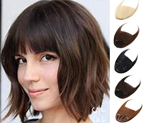 Clip in on Bangs One Piece Fringe 100% Remy Human Hair Extensions Hairpiece Full Front Neat Fringe Hand Tied Thick Straight Bangs with Temples for Women 21g(0.88 oz) Dark Brown