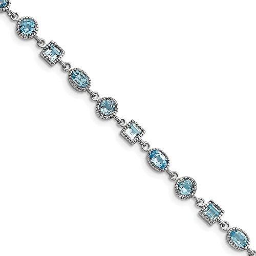 925 Sterling Silver Blue Topaz Bracelet 7 Inch Gemstone Fine Jewelry Gifts For Women For Her