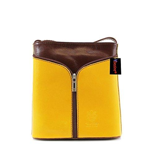 Callie Lock and Key Cuero Cubo Bolsa Yellow-Brown