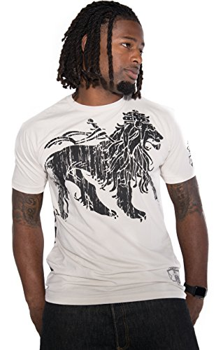 Men's Novelty Graphic Tee T-Shirt Short Sleeves for Reggae Music Fans Collection (White Lion, Medium) (Reggae Fan)