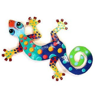 Eight Inch Metal Gecko Florida Design