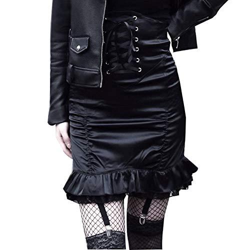 Mini Sexy Pliss Femmes des Jupe Noir vase Irrgulire La Mince Black Taille Bodycon Haute age Lacets qRXAF7t