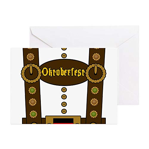 CafePress Oktoberfest Lederhosen F Greeting Card (10-pack), Note Card with Blank Inside, Birthday Card -