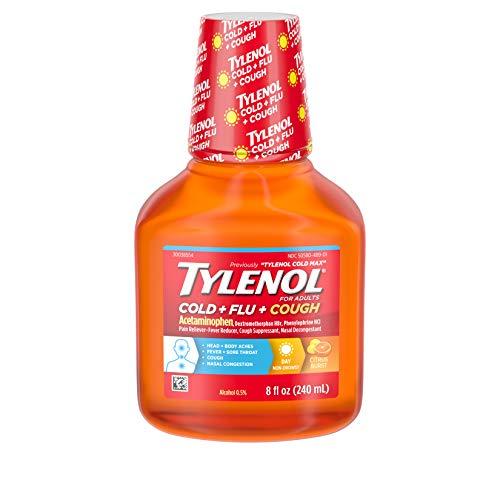 - Tylenol Cold + Flu + Cough, Cold Medicine, Liquid Daytime Flu Relief, 8 fl. oz