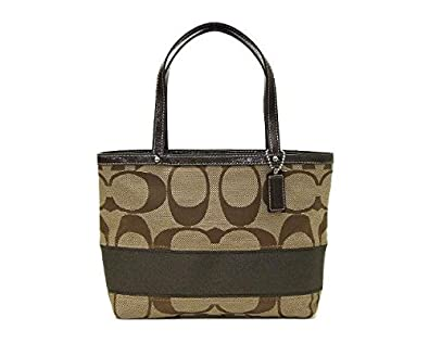 4ca1479a74d1 Coach Signature Stripe Top Handle Tote - Khaki/Mahogany: Handbags ...