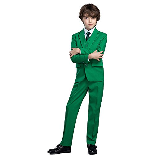 Yanlu 5 Piece Boy's Formal Suits Jacket+Vest+Pants+Shirt+Tie Kids Tuxedos 7 Colors (Green, -