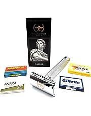 Roman Empire Shaving® Golarka Caesar – elegancki Safety Razor dla kobiet i mężczyzn – golarka na mokro zestaw z 20 ostrzami do golenia firmy Astra, Platinum, Voskhod – zestaw Rasier