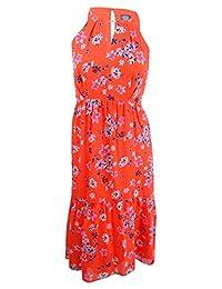 Vince Camuto Womens Keyhole Hi-Low Flounce Dress