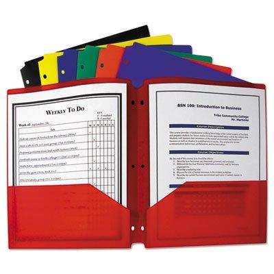 ht Poly Portfolio Folder, 3-Hole Punch, Letter, Assorted (108 Pack) ()