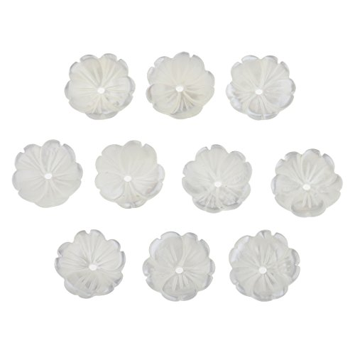 MonkeyJack 10 Pieces Natural Shell Carved Flowers Bead Bowl Shaped Beads for Jewelry Making White - Gemstone Flower Beads Carved