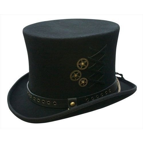 Men's Vintage Style Hats Conner Hats Mens SteamPunk Top Hat $80.99 AT vintagedancer.com