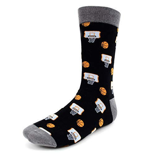 (Urban-Peacock Men's Novelty Fun Crew Socks for Dress or Casual - (Basketball - Black with Grey, 1 Pair))