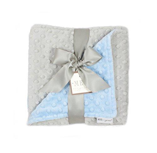 MEG Original Baby Boy Reversible Minky Dot Blanket Blue & Gray, ()