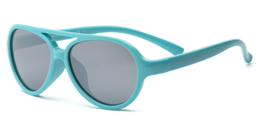 Real Kids Shades Sky Aviator Sunglasses for Toddler, Kid, Youth - 100% UVA UVB Protection, Polycarbonate Mirror Lenses, Unbreakable, Flex Fit, Iconic Style (Toddler 2+, Aqua)