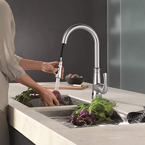 Touchless Kitchen Faucet, Dalmo DAKF5F Pull Down Sprayer Kitchen Faucet, Single Handle Sensor Kitchen Sink Faucet with 3 Modes Pull Down Sprayer, Brushed Nickel Dual Sensor Sink Faucet